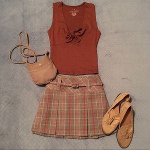 Pleated Plaid Skirt with Belt